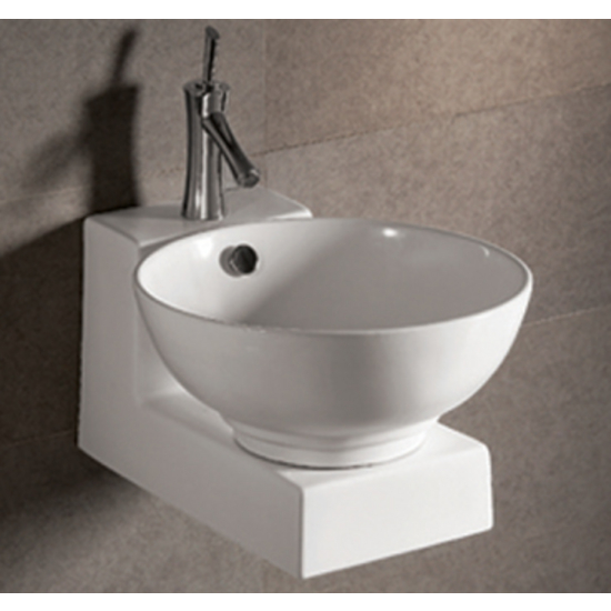Isabella Round Above-Mount Bath Sink with Wall-Mount Base