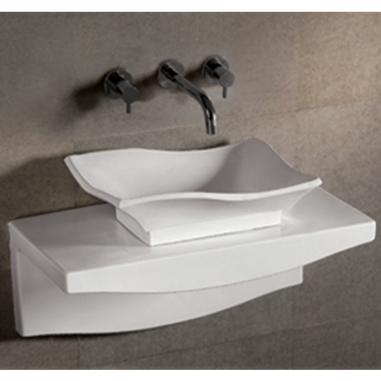 Isabella Rectangular Above-Mount Bath Sink with Wall-Mount Countertop