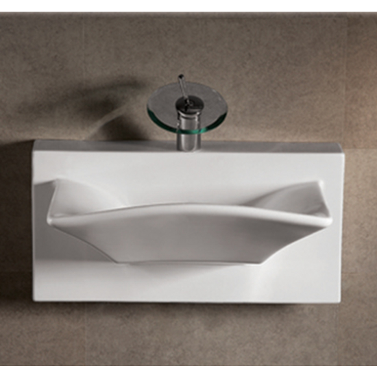 Isabella Rectangular Bowl Bath Sink with Wall-Mount Basin