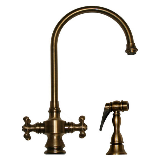 Whitehaus Vintage III Cross Handle Gooseneck Faucet w/ Side Spray, Antique Brass