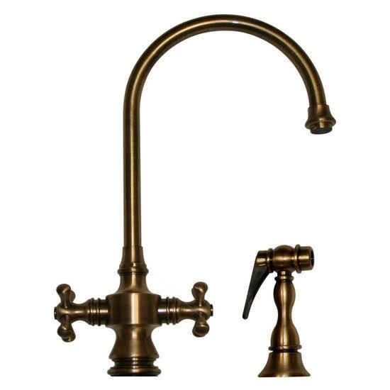 Whitehaus Vintage III Cross Handle Gooseneck Faucet w/ Side Spray, Antique Brass