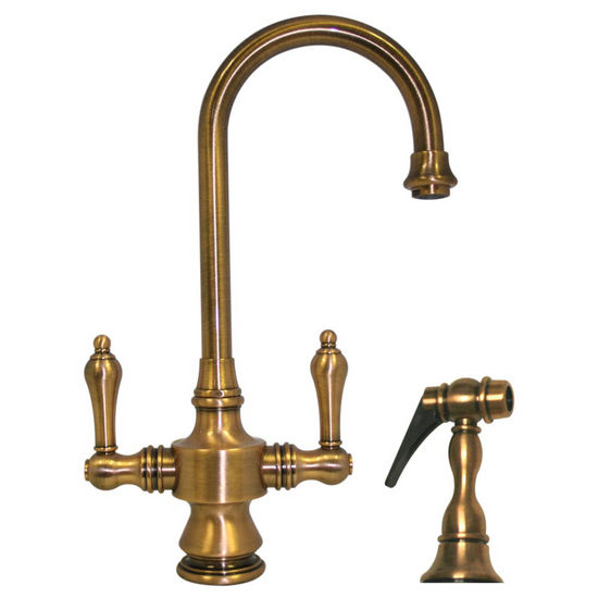 Whitehaus Vintage III Gooseneck Lever Handle Faucet w/ Side Spray, Antique Brass