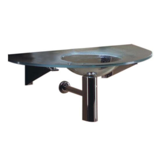 "Whitehaus 40"" Wall Mounted Arched Countertop and Integrated Round Basin in Matte Glass"