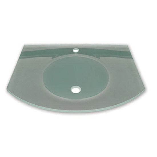 "Whitehaus 28"" Wall Mounted Arched Countertop and Integrated Round Basin in Matte Glass"