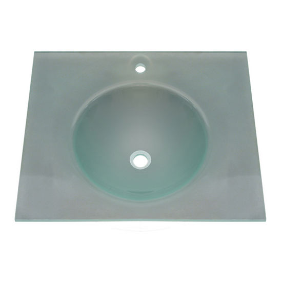 """Whitehaus 24"""" Wall Mounted Square Countertop and Integrated Round Basin in Matte Glass"""