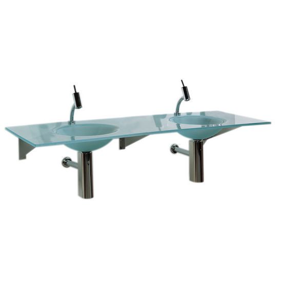 "Whitehaus 59"" Wall Mounted Rectangular Countertop with Double Integrated Round Basins in Matte Glass"