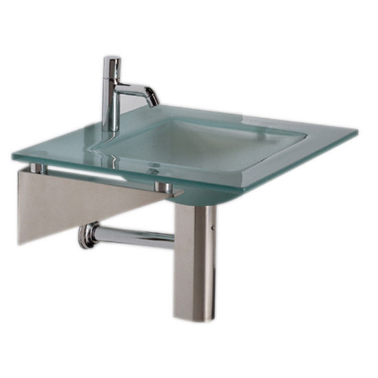 "Whitehaus 24"" Wall Mounted Square Countertop and Integrated Square Basin in Matte Glass"