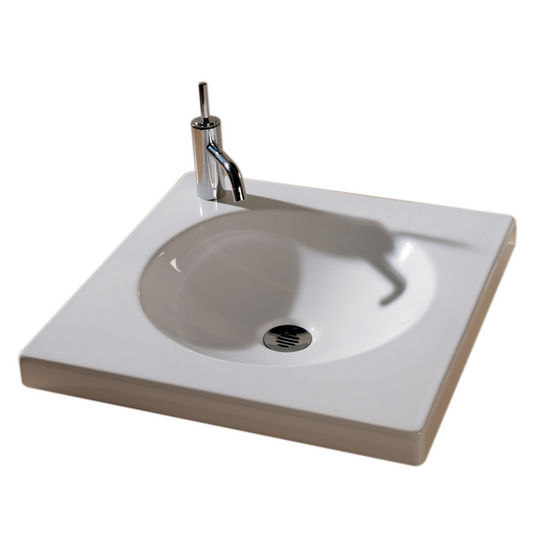 Bathroom Sinks New Generation Low Square Porcelain Drop In Unit W Round Integrated Basin By