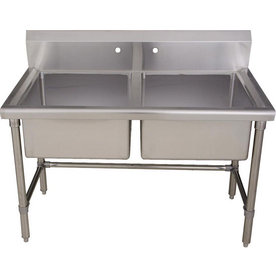 "Whitehaus Noah's Collection Double Bowl Commercial Freestanding Laundry/ Utility Sink, 14 gauge Brushed Stainless Steel, 47-1/4""W x 26""D x 39""H"