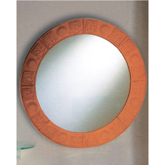 Terra Cotta Large Round Mirror