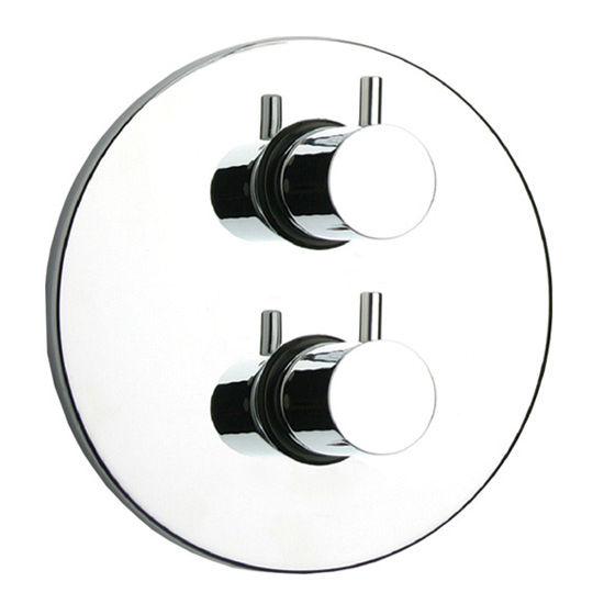 Whitehaus Luxe Thermostatic Valve with Round Plate and Two Knobs in Polished Chrome