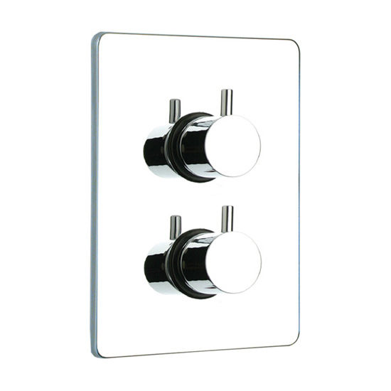 Whitehaus Luxe Thermostatic Valve with Square Plate and Two Knobs in Polished Chrome