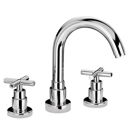Whitehaus Luxe Water Culture Widespread Bathroom Faucet with Tubular Swivel Spout and Cross Handles in Polished Chrome