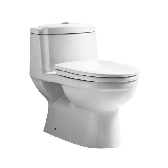 "Whitehaus Magic Flush Eco-Friendly One Piece Toilet, Siphonic Action Dual Flush System, Elongated Bowl, 1.6/1.1 GPF Capacity, 15-1/2""W x 27""D x 24-1/2""H"