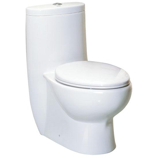 "Whitehaus Magic Flush Eco-Friendly One Piece Toilet, Siphonic Action Dual Flush System, Elongated Bowl, 1.6/1.1 GPF Capacity, 16""W x 28-3/4""D x 30-3/4""H"