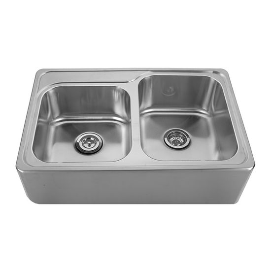 "Noah Collection - Double Bowl Drop-In Sink, 1 Small Bowl & 1 Large Bowl, 33"" W x 22"" D x 9-1/4"" H, No Hole"