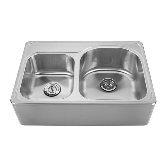 "Noah Collection - Double Bowl Drop-In Sink, with Rounded Edges, 33"" W x 22"" D x 9-1/4"" H, No Hole"