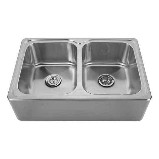 "Noah Collection - Double Bowl Drop-In Sink, 33"" W x 22"" D x 9-1/4"" H, No Hole"
