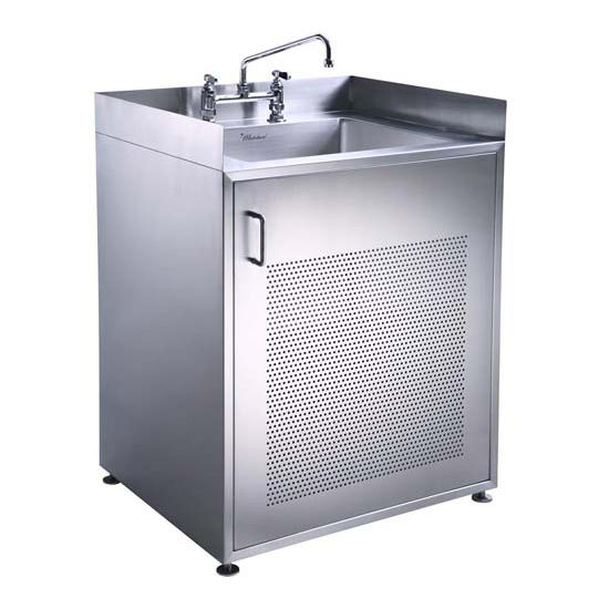 Laundry Sink Cabinet Stainless Steel : Single Door Stainless Steel Cabinet With Sink by Whitehaus, Part of ...