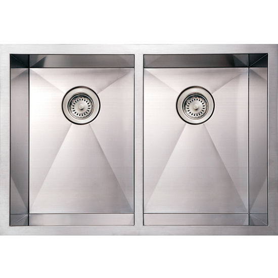 Noah Collection - Commercial Double Bowl Sink, Brushed Stainless Steel
