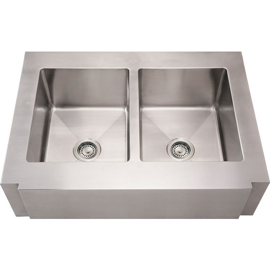 Noah Collection - Commercial Double Bowl Sink with Notched Front-Apron, Brushed Stainless Steel