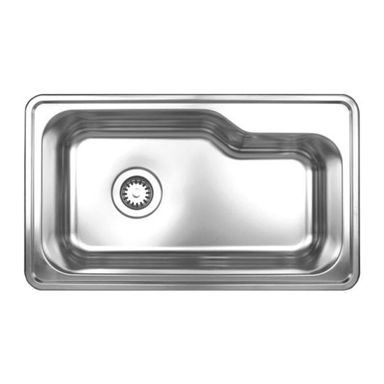 "Noah Collection - Single Bowl Drop-In Sink, Rectangular, 33-1/2"" W x 19-3/4"" D, No Hole"