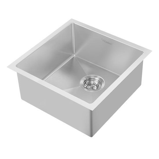 Whitehaus noah plus collection 17 34w square single bowl dual brushed stainless steel angled view workwithnaturefo