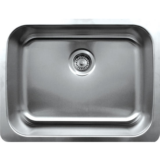 "Whitehaus Noah's Collection 23-1/2"" Wide Undermount Kitchen Sink, Single Bowl, Brushed Stainless Steel"