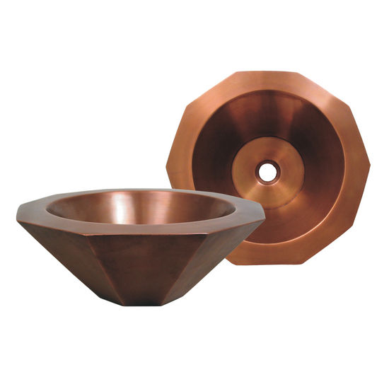 Whitehaus Above Mount Decagon Shaped Basin, Smooth Copper