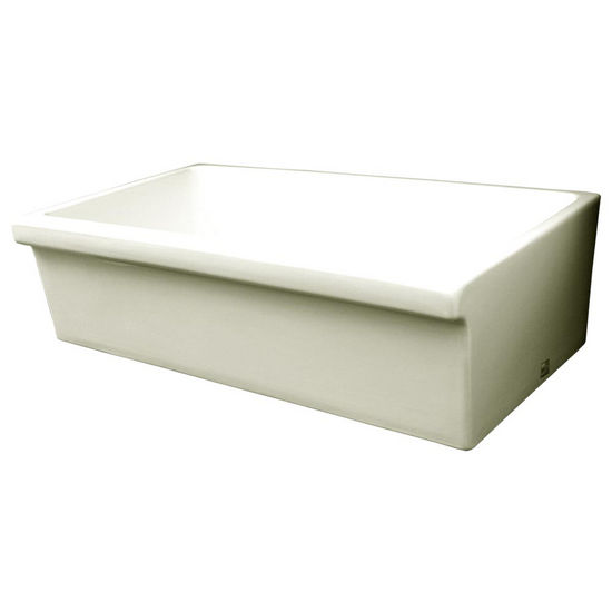 Whitehaus - Reversible Quatro Alcove Fireclay Sink, Biscuit