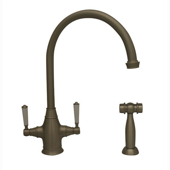 """Whitehaus Queenhaus Collection Dual Handle Faucet with Long Gooseneck Spout, Porcelain Lever Handles and Solid Brass Side Spray in Brushed Nickel, 9"""" W x 6-1/16"""" D x 14-1/2"""" H"""