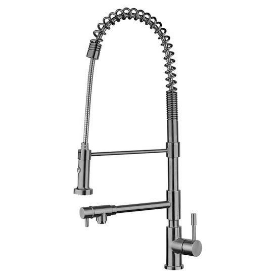 Whitehaus Waterhaus Lead Free Solid Stainless Steel Commerical Single-Hole Kitchen Faucet with Flexible Pull Down Spray Head, Swivel Support Bar & 2 Separate Control Levers in Brushed Stainless Steel