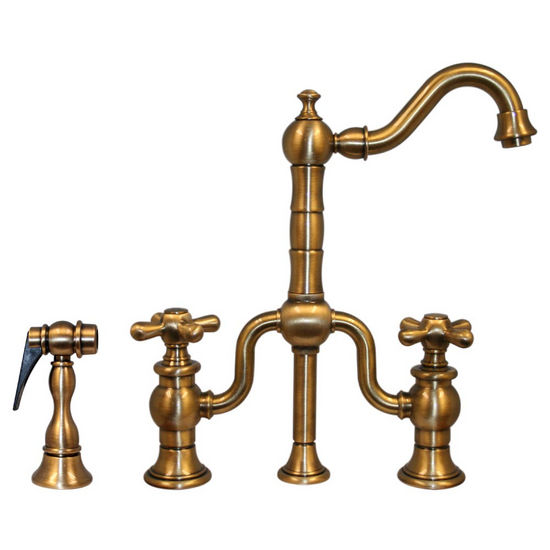 Whitehaus Twisthaus Kitchen Prep Faucet, Short Traditional Swivel Spout with Cross Handles & Solid Brass Side Spray, Antique Brass
