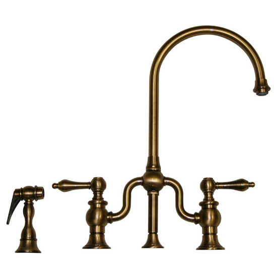 Whitehaus Twisthaus Kitchen Bridge Faucet, Long Gooseneck Swivel Spout with Lever Handles & Solid Brass Side Spray, Antique Brass
