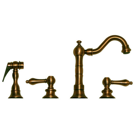 Whitehaus Vintage III Kitchen Prep Faucet, Short Traditional Swivel Spout with Lever Handles & Solid Brass Side Spray, Antique Brass