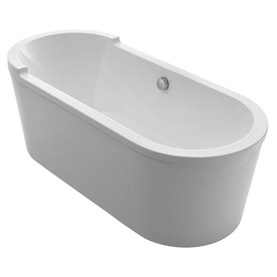 """Whitehaus Bathhaus Collection Oval Double Ended Single Sided Armrest Freestanding Bathtub with Chrome Mechanical Pop-Up Waste and Chrome Center Drain with Internal Overflow in White, 70-7/8"""" W x 31-1/2"""" D x 24-1/2"""" H"""