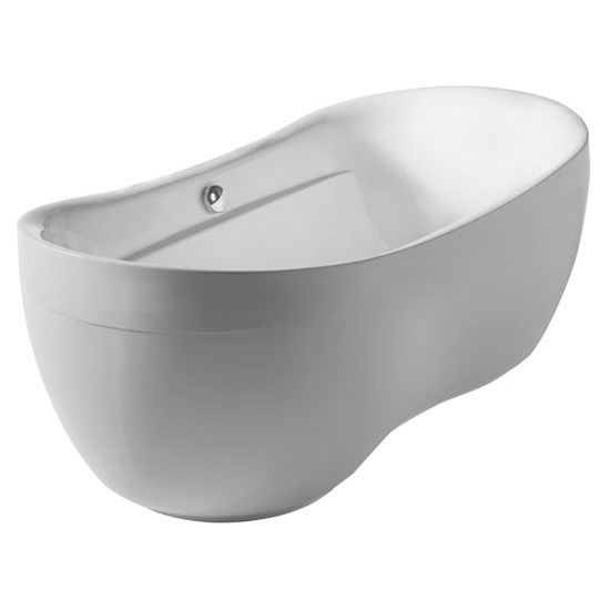 "Whitehaus Bathhaus Collection Oval Double Ended Freestanding Bathtub with Curved Rim with Chrome Mechanical Pop-Up Waste and Chrome Center Drain with Internal Overflow in White, 70-7/8"" W x 35-1/2"" D x 25-5/8"" H"