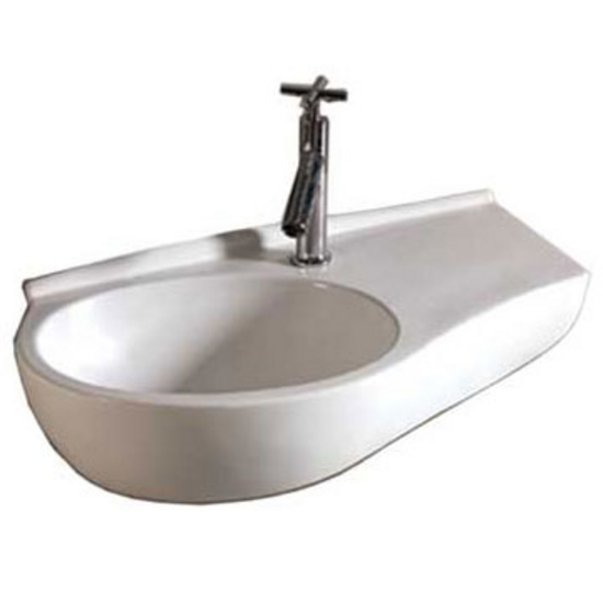 Whitehaus Isabella Curve Shaped Wall Mount Basin with Integrated Oval Bowl, Single Faucet Hole and Center Drain