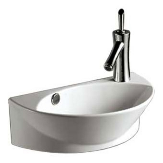 Whitehaus Isabella Half-Oval Wall Mount Basin with Integrated Oval Bowl,  Overflow, Right