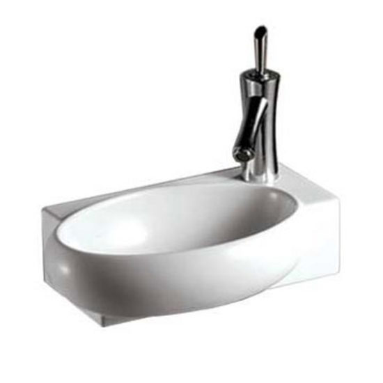 Whitehaus Isabella Rectangular Wall Mount Basin with Integrated Oval Bowl and Right Offset Single Faucet Hole