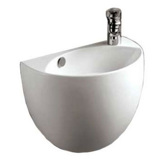 Whitehaus Isabella Half-Oval Shaped Wall Mount Basin with Overflow, Right Offset Single Faucet Hole and Center Drain