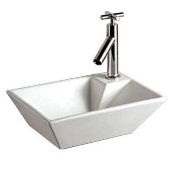Whitehaus Isabella Rectangular Wall Mount Basin and a Right Offset Single Faucet Hole
