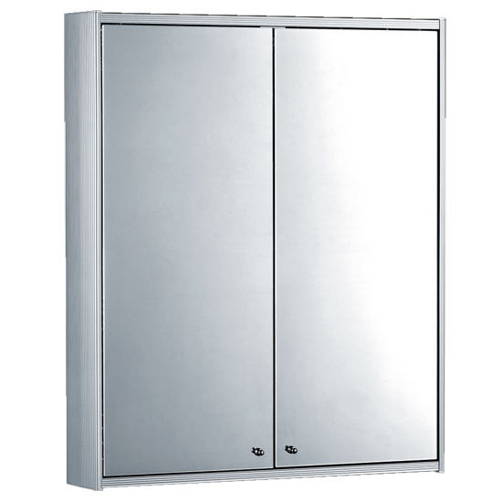 Whitehaus Double Door Anodized Aluminum Medicine Cabinet with Two Double Faced Mirrors
