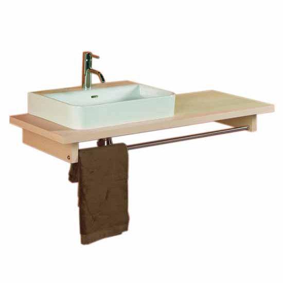 Whitehaus Aeri Long Wood Counter Top Unit with Integral Towel Rail, Natural Birchwood, 17-3/4''W x 35-1/2''D x 5''H