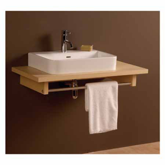 Whitehaus Aeri Short Wood Counter Top Unit with Integral Towel Rail, Ebony, 17-3/4''W x 23-1/2''D x 5''H