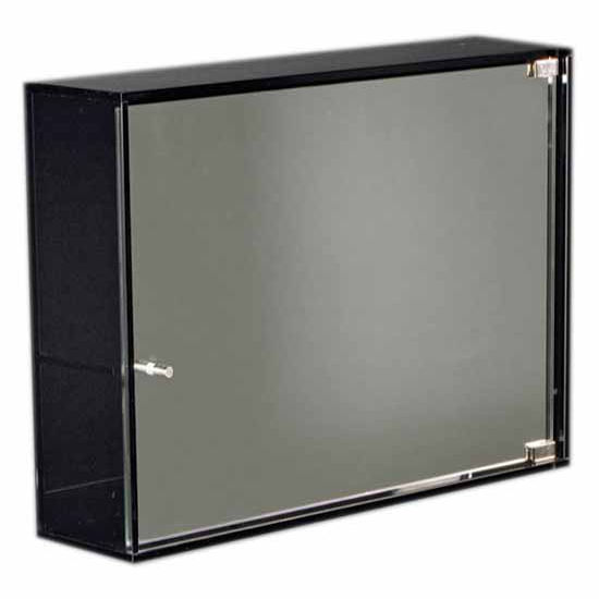 Whitehaus Aeri Glass Medicine Cabinet with Two Shelves and Mirror Door, Smoked Gray Glass, 21-3/4''W x 5''D x 15-3/4''H