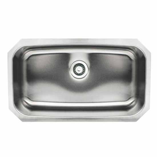 Whitehaus Noah's Collection Rectangular Single Bowl Undermount Kitchen Sink, Brushed Stainless Steel, 17-1/2''W x 29-1/2''D