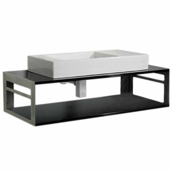 Whitehaus Aeri Counter Top and Shelf Unit; Includes Supports with Integral Towel Rails and Rectangular Above Mount White Porcelain Basin, Laminated Black Glass/Stainless Steel, 17-3/4''W x 39-3/4''D x 13-1/4''H