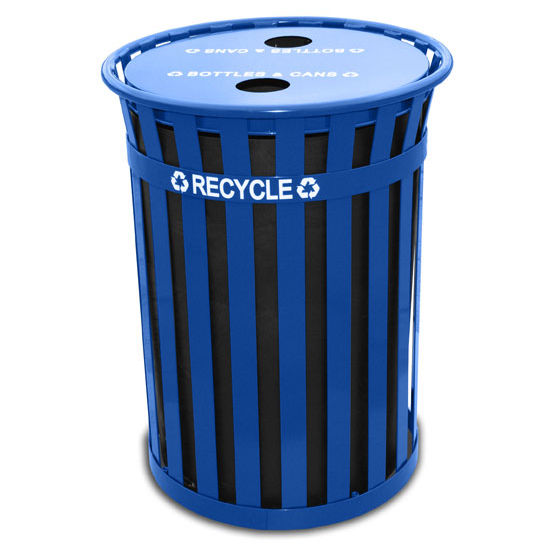 Witt Oakley Slatted Metal Recycling Receptacle with Recycling Flat Top, Plastic Liner, Blue