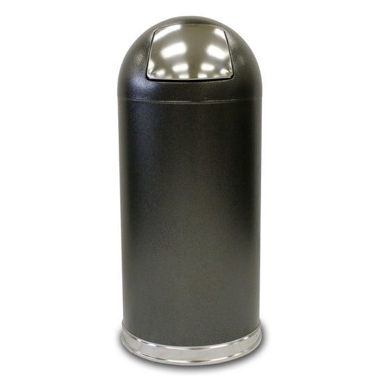 Witt Dome Top Waste Receptacle with Push Door, Galvanized Liner, Granite Finish (Silver Vein)
